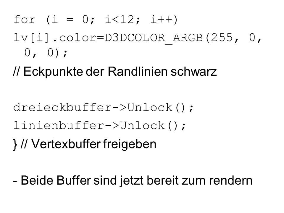 for (i = 0; i<12; i++) lv[i].color=D3DCOLOR_ARGB(255, 0, 0, 0); // Eckpunkte der Randlinien schwarz.